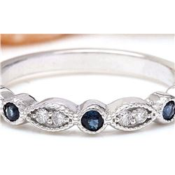 0.20 CTW Natural Sapphire 18K Solid White Gold Diamond Ring