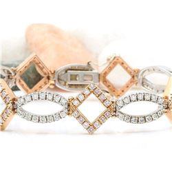 4.75 CTW Natural Diamond 18K Solid Two Tone Gold Bracelet