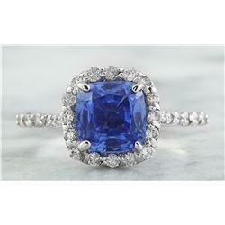 3.15 CTW Sapphire 18K White Gold Diamond Ring