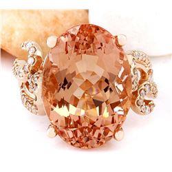 13.39 CTW Natural Morganite 18K Solid Rose Gold Diamond Ring