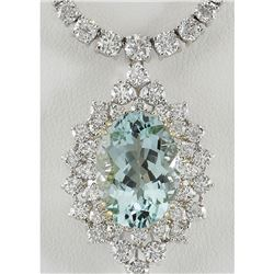 19.85 CTW Natural Aquamarine And Diamond Necklace In 14K White Gold