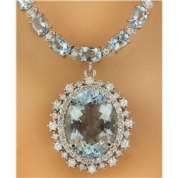 38.18 CTW Aquamarine 14K White Gold Diamond Necklace