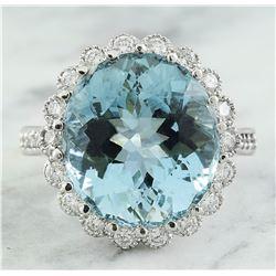 11.87 CTW Aquamarine 14K White Gold Diamond Ring