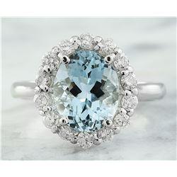 3.23 CTW Aquamarine 18K White Gold Diamond Ring