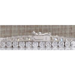 6.66CTW Natural Diamond Bracelet In 18K Solid White Gold
