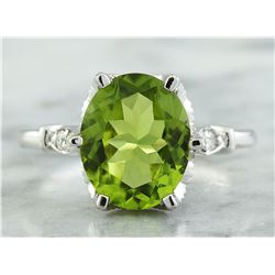 3.41 CTW Peridot 14K White Gold Diamond Ring