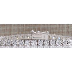 6.66CTW Natural Diamond Bracelet In 14K Solid White Gold