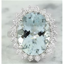 8.88 CTW Aquamarine 18K White Gold Diamond Ring