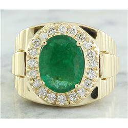 4.59 CTW Mens Emerald 14K Yellow Gold Diamond Ring