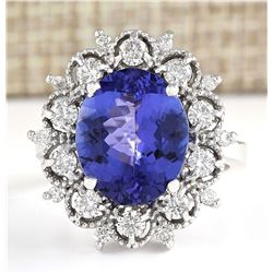 6.47 CTW Natural Blue Tanzanite And Diamond Ring 14k Solid White Gold
