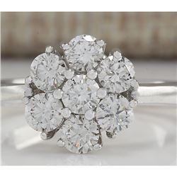 1.15 CTW Natural Diamond Ring 18K Solid White Gold
