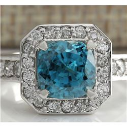 5.85 CTW Natural Blue Zircon And Diamond Ring 14K Solid White Gold