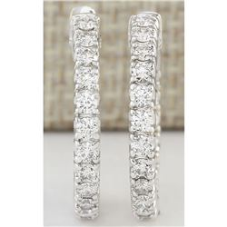 2.00 CTW Natural Diamond Hoop Earrings In 14k White Gold
