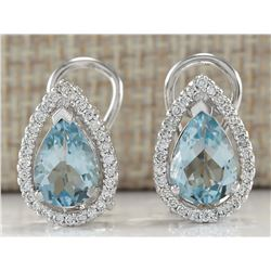 3.41 CTW Natural Blue Aquamarine And Diamond Earrings 18K Solid White Gold