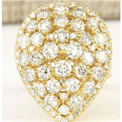 4.00 CTW Natural Diamond Ring In 18K Yellow Gold