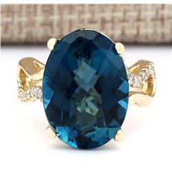 15.37 CTW Natural Topaz And Diamond Ring In 18K Yellow Gold