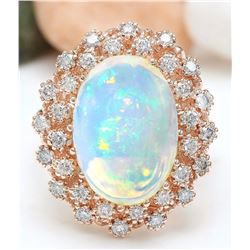 8.58 CTW Natural Opal 14K Solid Rose Gold Diamond Ring