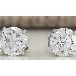 1.00 CTW Natural Diamond Earrings 18K Solid White Gold