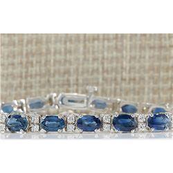 12.80 CTW Natural Blue Sapphire Diamond Bracelet 18K Solid White Gold