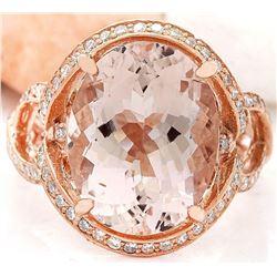 8.19 CTW Natural Morganite 18K Solid Rose Gold Diamond Ring