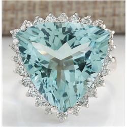 13.62 CTW Natural Aquamarine And Diamond Ring In 18K Solid White Gold