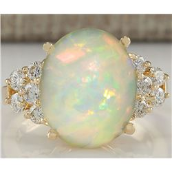 6.67 CTW Natural Opal And Diamond Ring 18K Solid Yellow Gold
