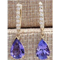 4.65 CTW Natural Tanzanite And Diamond Earrings 14K Solid Yellow Gold