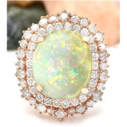 7.70 CTW Natural Opal 18K Solid Rose Gold Diamond Ring