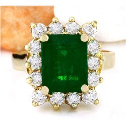 4.70 CTW Natural Emerald 18K Solid Yellow Gold Diamond Ring