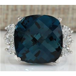 10.00 CTW Natural London Blue Topaz And Diamond Ring In 14K White Gold