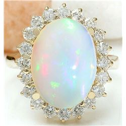 5.55 CTW Natural Opal 14K Solid Yellow Gold Diamond Ring