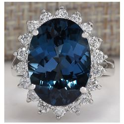 10.32CTW Natural London Blue Topaz And Diamond Ring In18K Solid White Gold