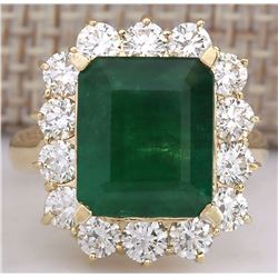 6.68 CTW Natural Emerald And Diamond Ring 14K Solid Yellow Gold