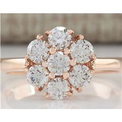 1.15 CTW Natural Diamond Ring 18K Solid Rose Gold