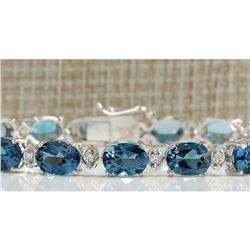 26.60 CTW Natural Topaz And Dimond Bracelet In 18K Solid White Gold
