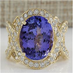 10.62 CTW Natural Blue Tanzanite And Diamond Ring In 18K Solid Yellow Gold