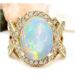 8.88 CTW Natural Opal 14K Solid Yellow Gold Diamond Ring