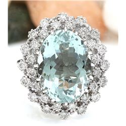 9.41 CTW Natural Aquamarine 18K Solid White Gold Diamond Ring