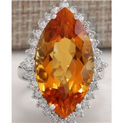 15.34 CTW Natural Citrine And Diamond Ring 18K Solid White Gold