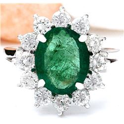 3.55 CTW Natural Emerald 18K Solid White Gold Diamond Ring