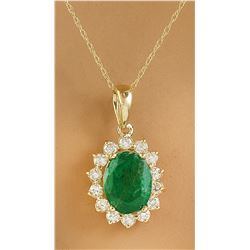 1.88 CTW Emerald 18K Yellow Gold Diamond Pendant Necklace