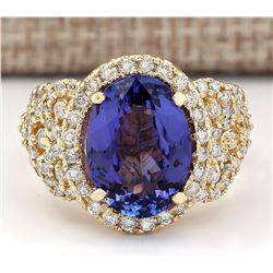7.55 CTW Natural Tanzanite And Diamond Ring In 18K Yellow Gold