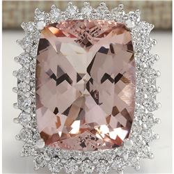 22.24 CTW Natural Peach Morganite And Diamond Ring In 18K Solid White Gold