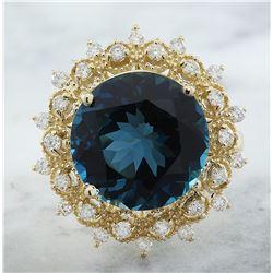 10.00 CTW Topaz 18K Yellow Gold Diamond Ring
