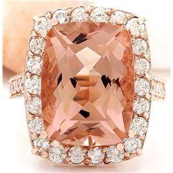 13.63 CTW Natural Morganite 18K Solid Rose Gold Diamond Ring