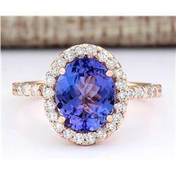 3.10 CTW Natural Tanzanite And Diamond Ring In 14k Rose Gold