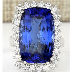 17.50 CTW Natural Tanzanite And Diamond Ring In 14K White Gold