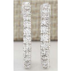 2.00 CTW Natural Diamond Hoop Earrings In 18K White Gold