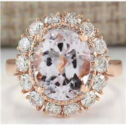 5.66 CTW Natural Morganite And Diamond Ring 18K Solid Rose Gold
