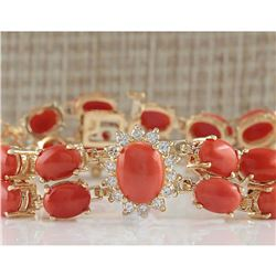 31.50 CTW Natural Red Coral And Dimond Bracelet In 14k Solid Yellow Gold